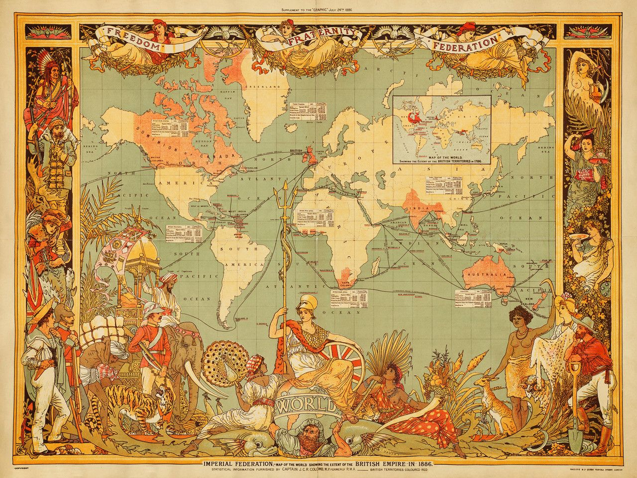 Vintage style world map by walter crane showing the british empire vintage style world map by walter crane showing the british empire in 1700s and 1800s gumiabroncs Gallery