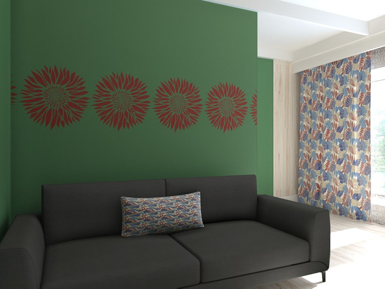 Wall stencil flower custom size wallstencil wallstencils wall stencil flower stencil for walls reusable floral stencil amipublicfo Image collections