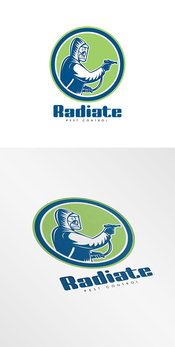 Radiate Pest Control Logo. Logo showing illustration of pest control exterminator spraying side view set inside circle on isolated background done in retro style. 100% re-sizeable vectors.