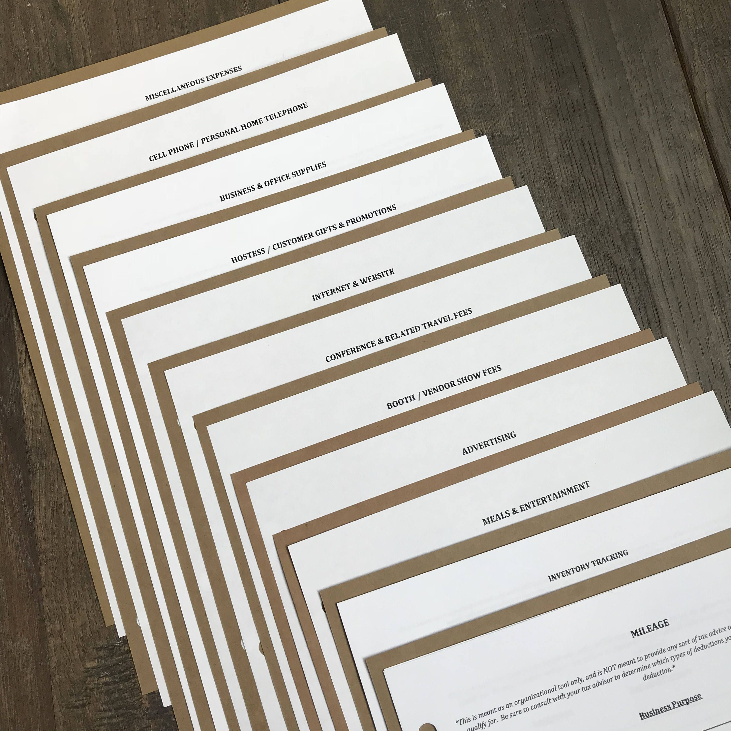 Business Expense Organizer Packet