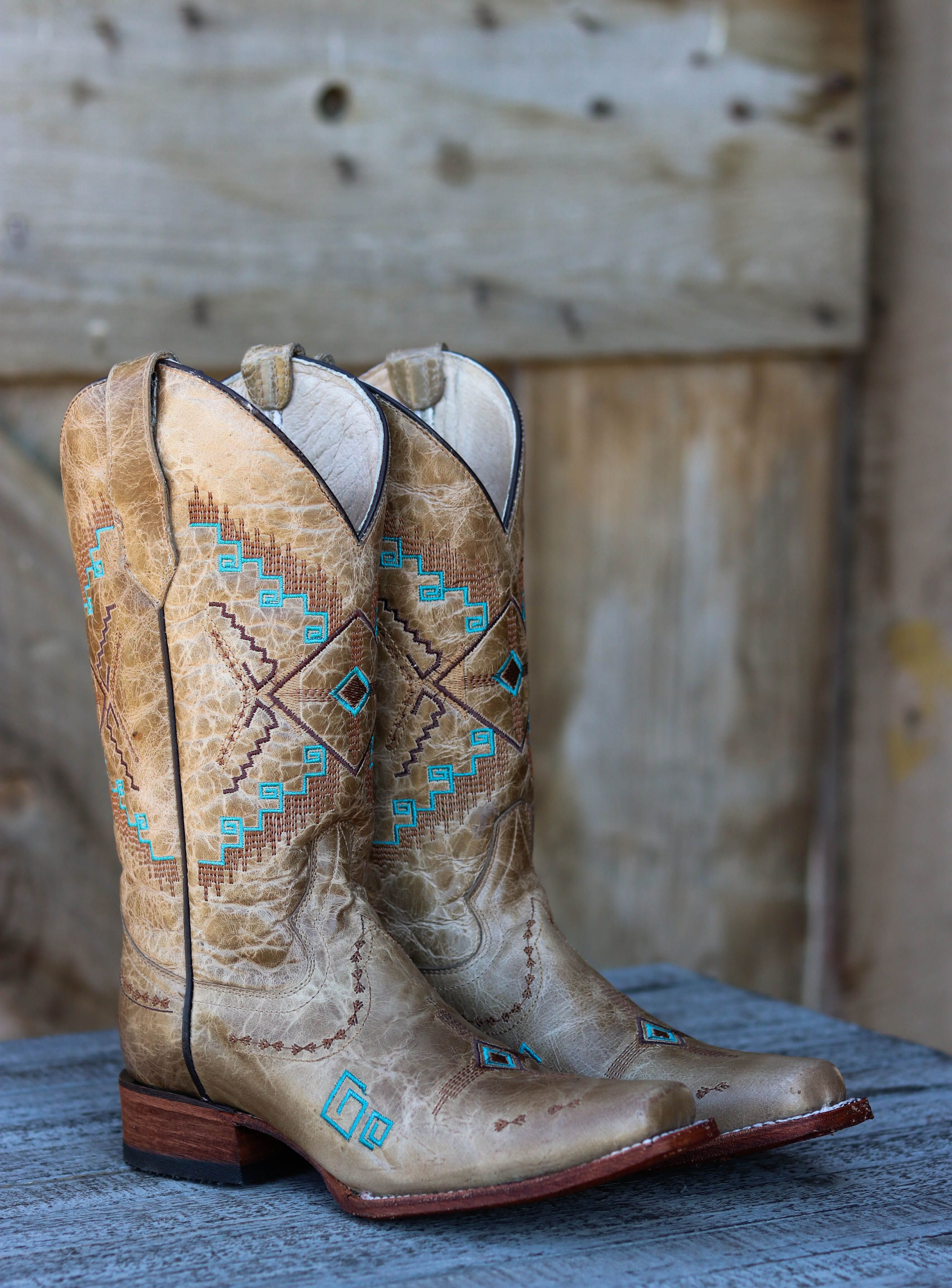 78983d6a289 One of our favorite square toe boots! The turquoise stitching stands ...