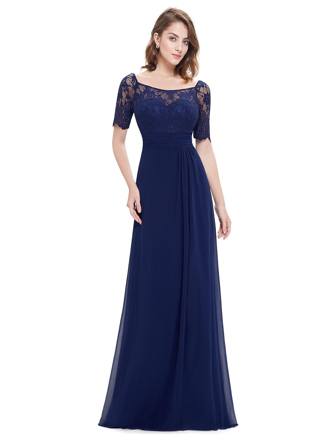 Half Sleeve Empire Waist Evening Dress with Lace Bodice | Lace ...