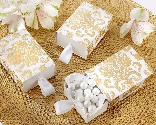 24 NEW Treasures Gold White Damask Slide Wedding Favor Boxes FREE US SHIP
