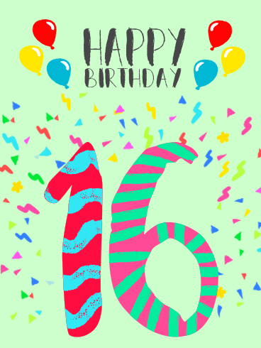Happy 16th Birthday Card Balloons And Confetti On A Backdrop Of