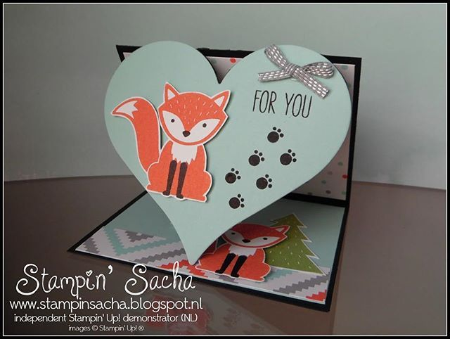 Heart shaped Fun Fold Card with the Foxy Friends bundle ❤️