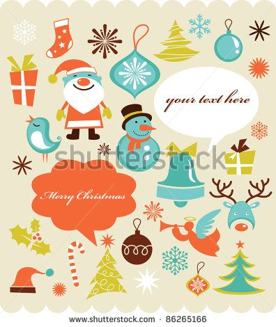 Retro Christmas Background With Collection Of Icons By Marish Via Shutterstock