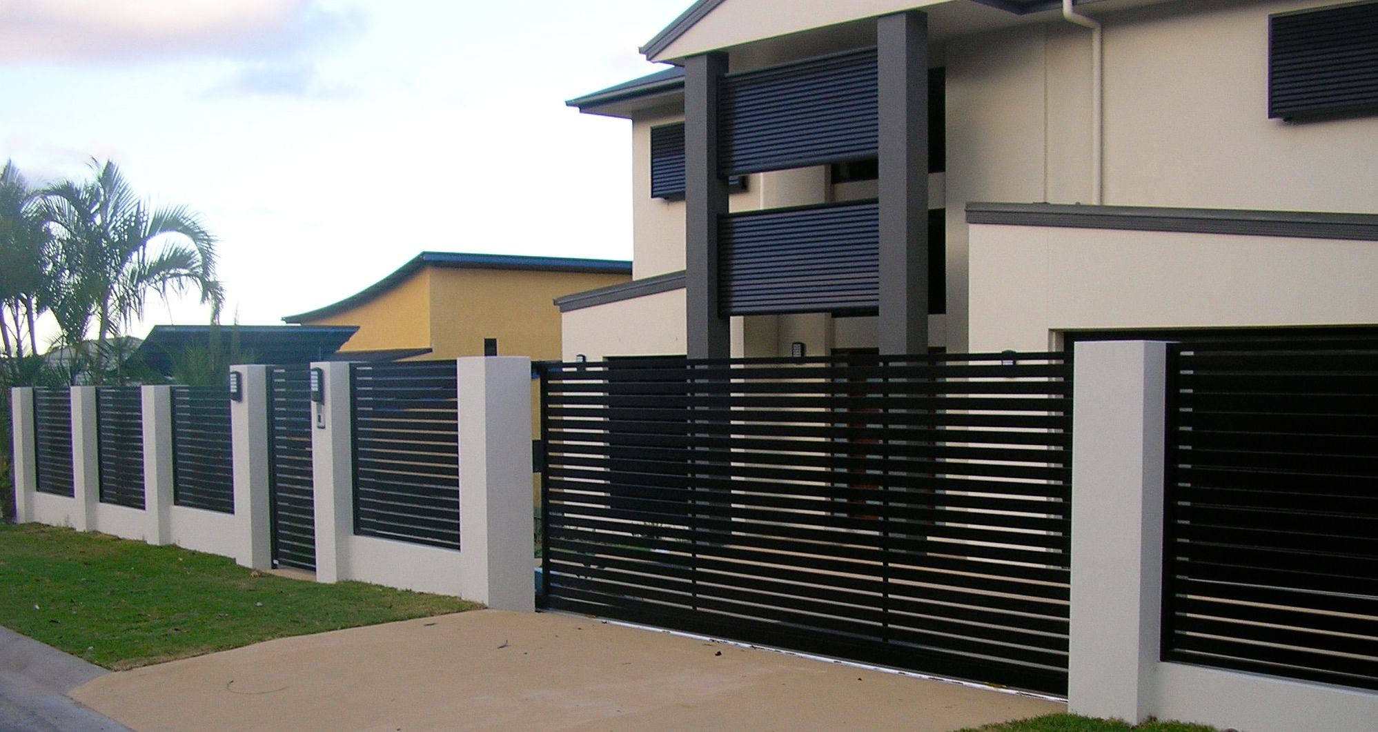 Sliding gate pedestrian gate and fence panels concrete for Modern house gate