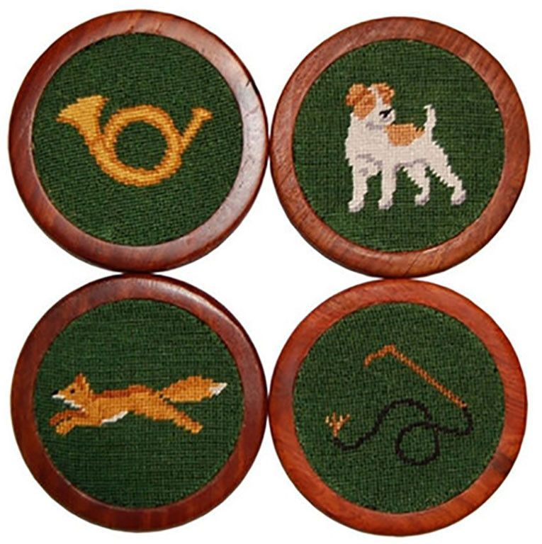 Fox Hunt Needlepoint Coasters in Green by Smathers & Branson