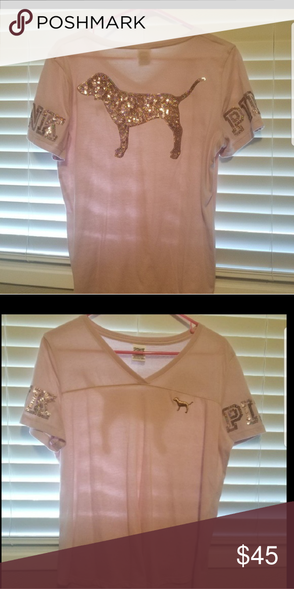 1ec3607ee5ae2 Vs bling shirt Size large PINK Victoria's Secret Tops Tees - Short ...