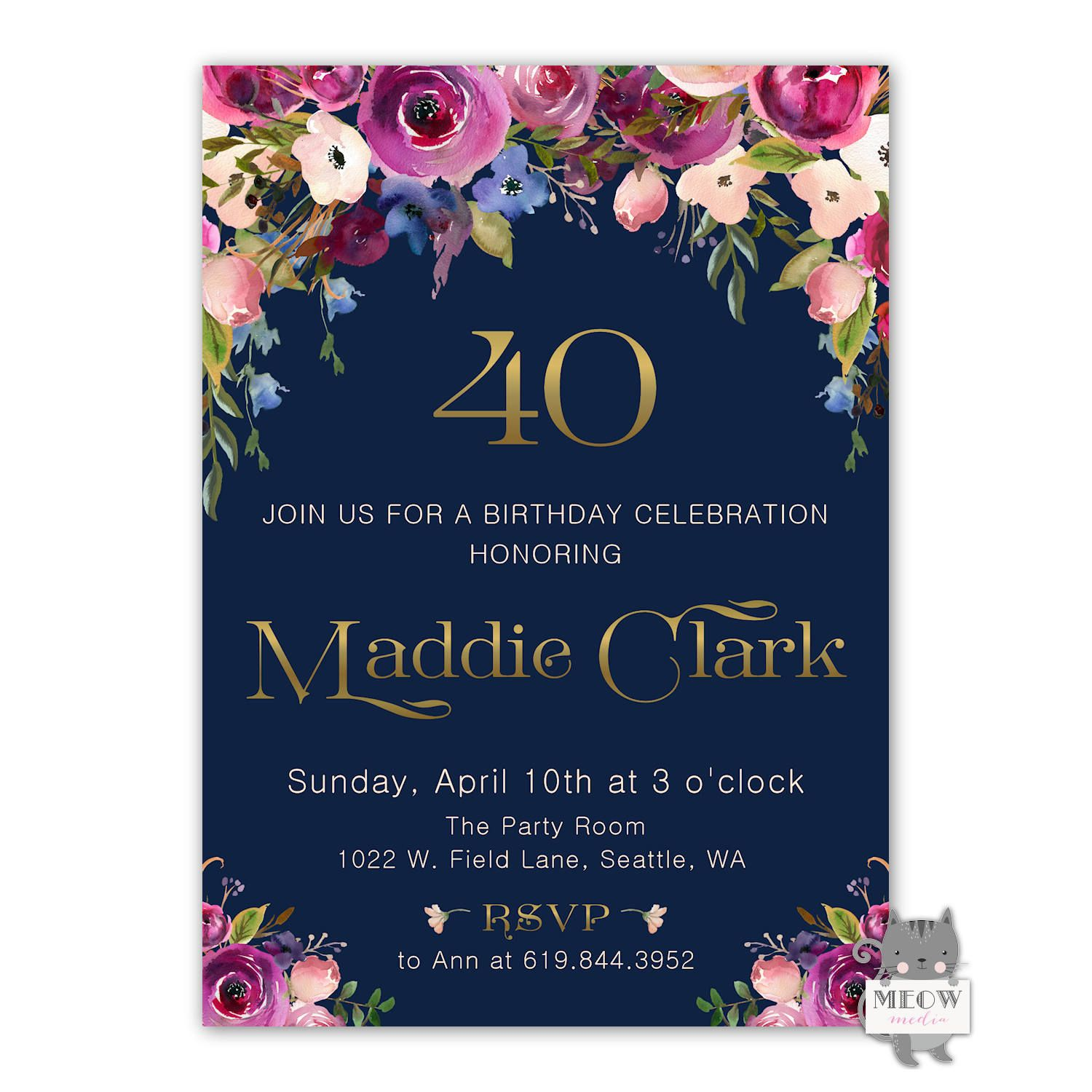 Excited To Share The Latest Addition My Etsy Shop 40th Birthday Invitation Women