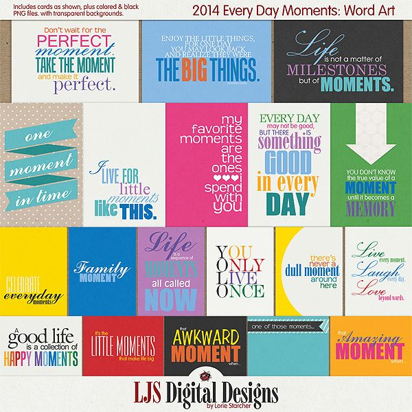 2014 Every Day Moments Basics - Journal Cards :: Elements :: Memory Scraps