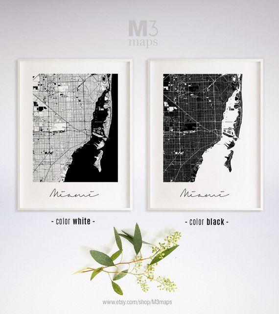Miami, Minimalist Miami Map, Miami Map Print, Miami City Map