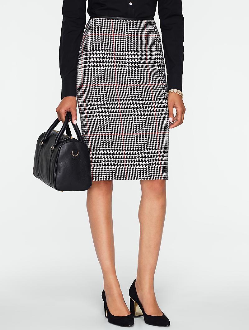 26e70da3b1 Talbots - Rockingham Plaid Faux-Leather Trimmed Pencil Skirt | Misses &  Petites | ~~