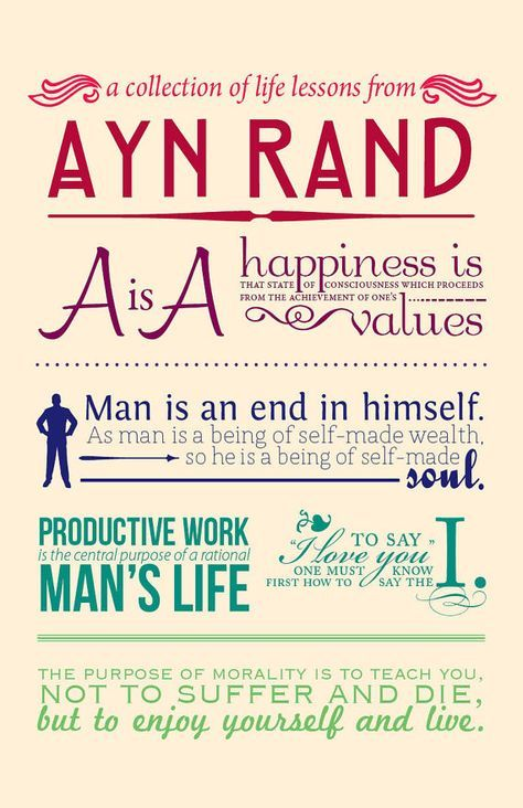 ayn rand quotes  based off her philosophy  objectivism