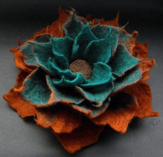 Felt flower brooch in teal