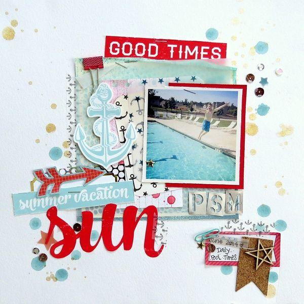 #papercraft #scrapbook #layout.  summer vacation sun by *Shannon Morgan* @2peasinabucket