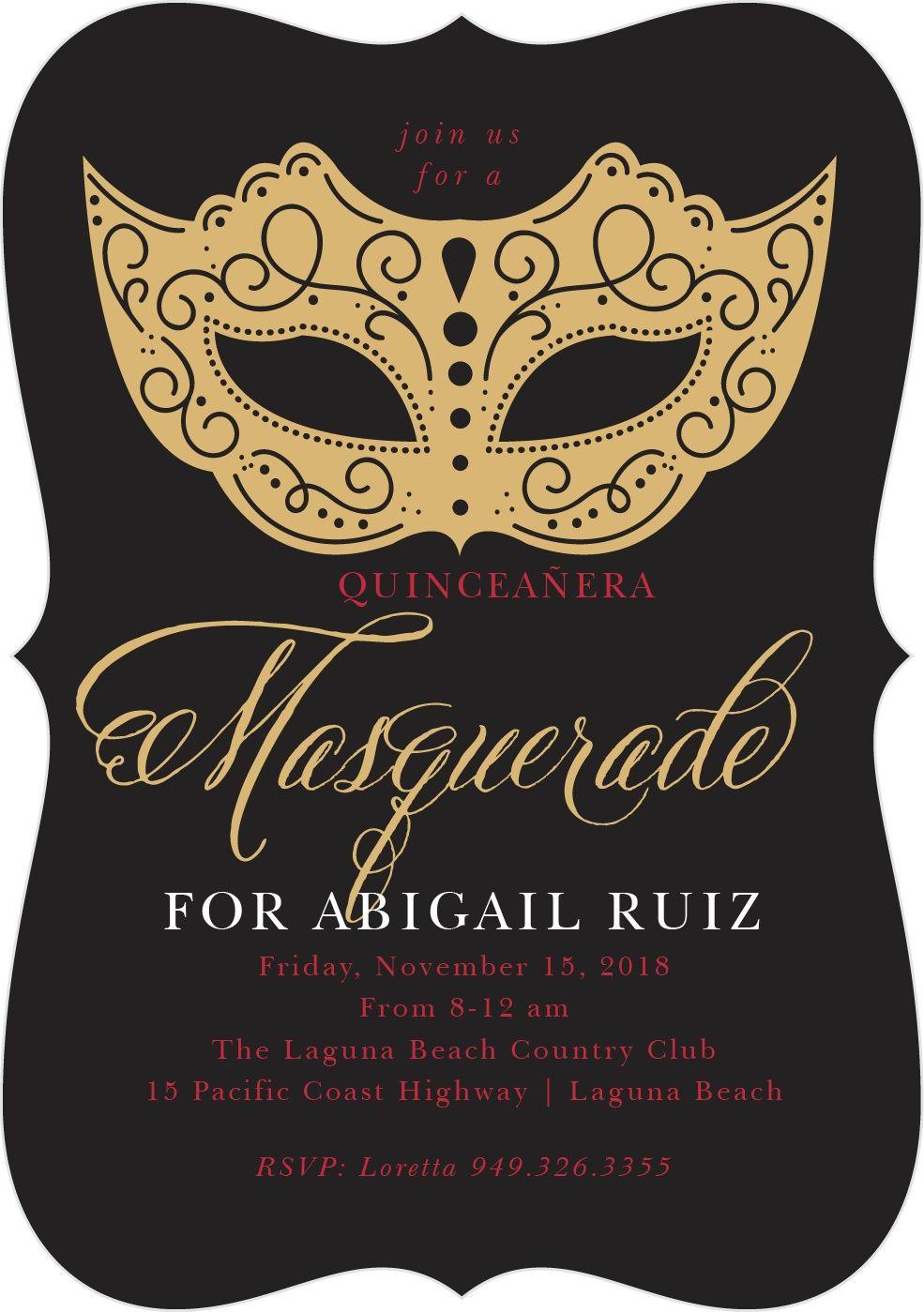 Masquerade Mask Foil Quinceanera Party Invitations
