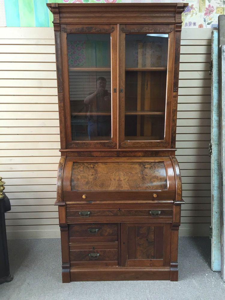 Antique Victorian Cylinder Roll Top Secretary Desk With Burled Walnut Ca 19th C
