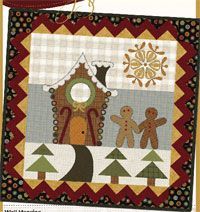 """Gingerbread Lane Pattern by Sonja Lea Designs at KayeWood.com. This darling wallhanging is easy to hand or machine appliqué. The finished quilt makes a wonderful holiday and/or winter decoration for your home. The pattern is written with full color instructions and illustrations. Finished Wall Hanging Size: 36"""" x 36"""".  http://www.kayewood.com/item/Gingerbread_Lane_Pattern/3584 $9.50"""