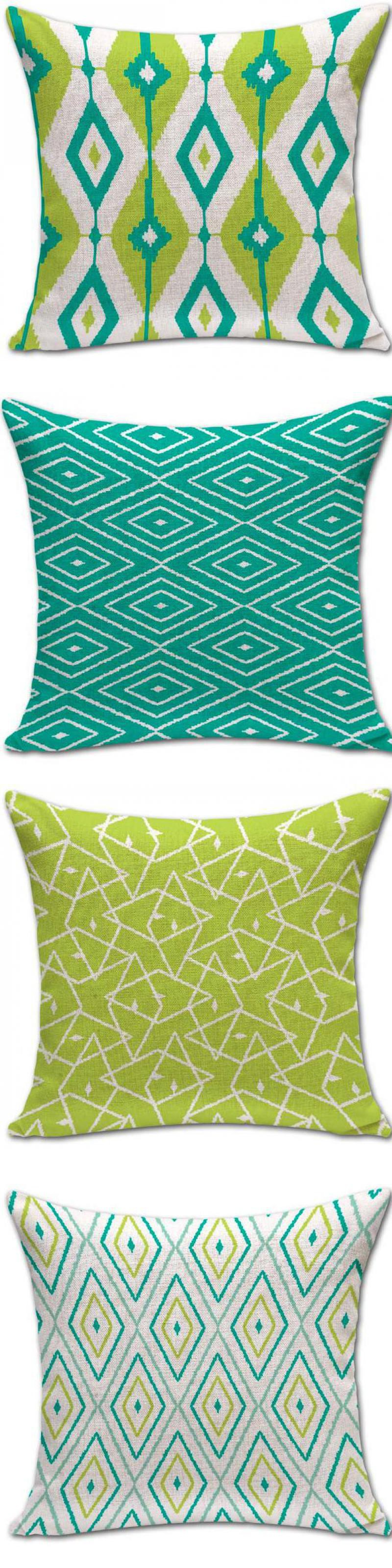 Modern Minimalist Green Diamond Stripe Geometric Cotton Linen Cushion Home Decorative Sofa Chair Seat Cushion $8.66