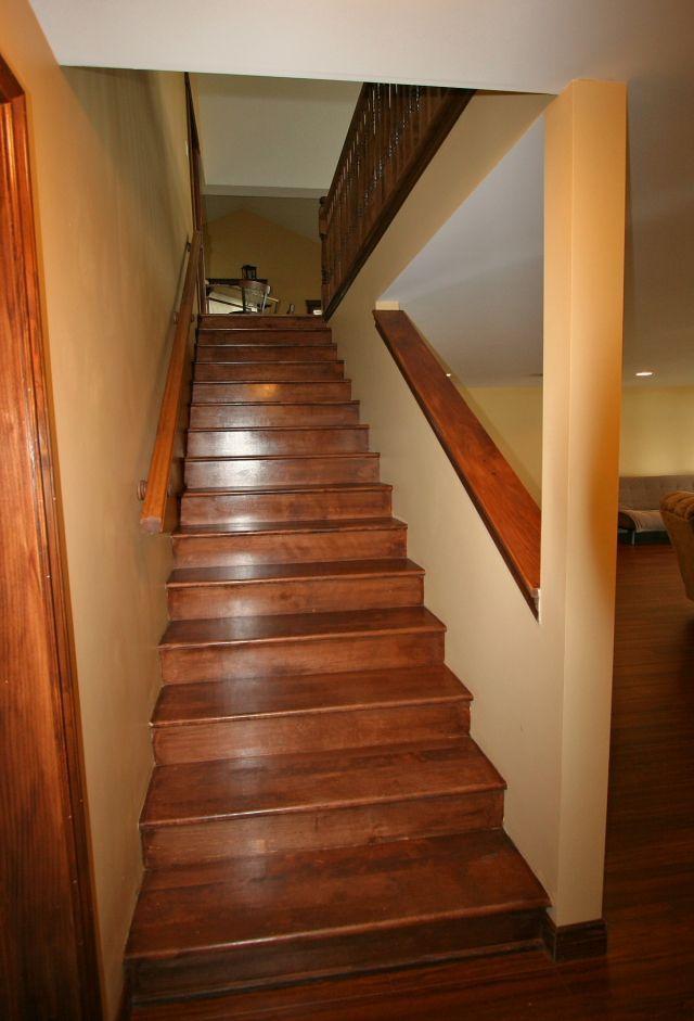 Basement Stairway Hardwood Stairs To The Full Daylight