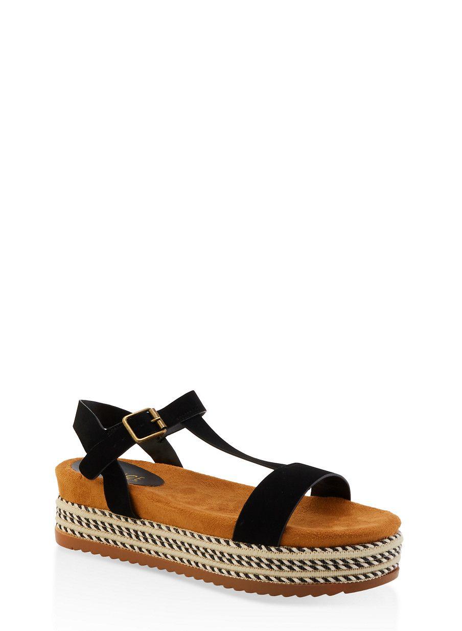 c7d68a6a44 T Strap Platform Sandals - Black - Size 12