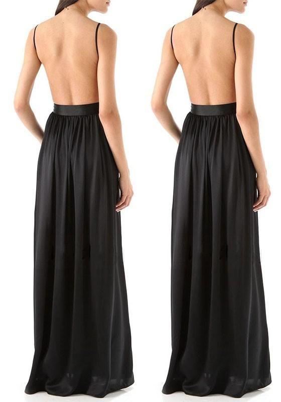 Black Plain Condole Belt Cut Out Sleeveless Maxi Dress