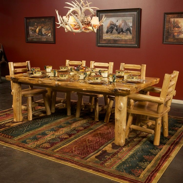 High Quality Cedar Lake Solid Wood Log Dining Table Log Furniture Cabin And