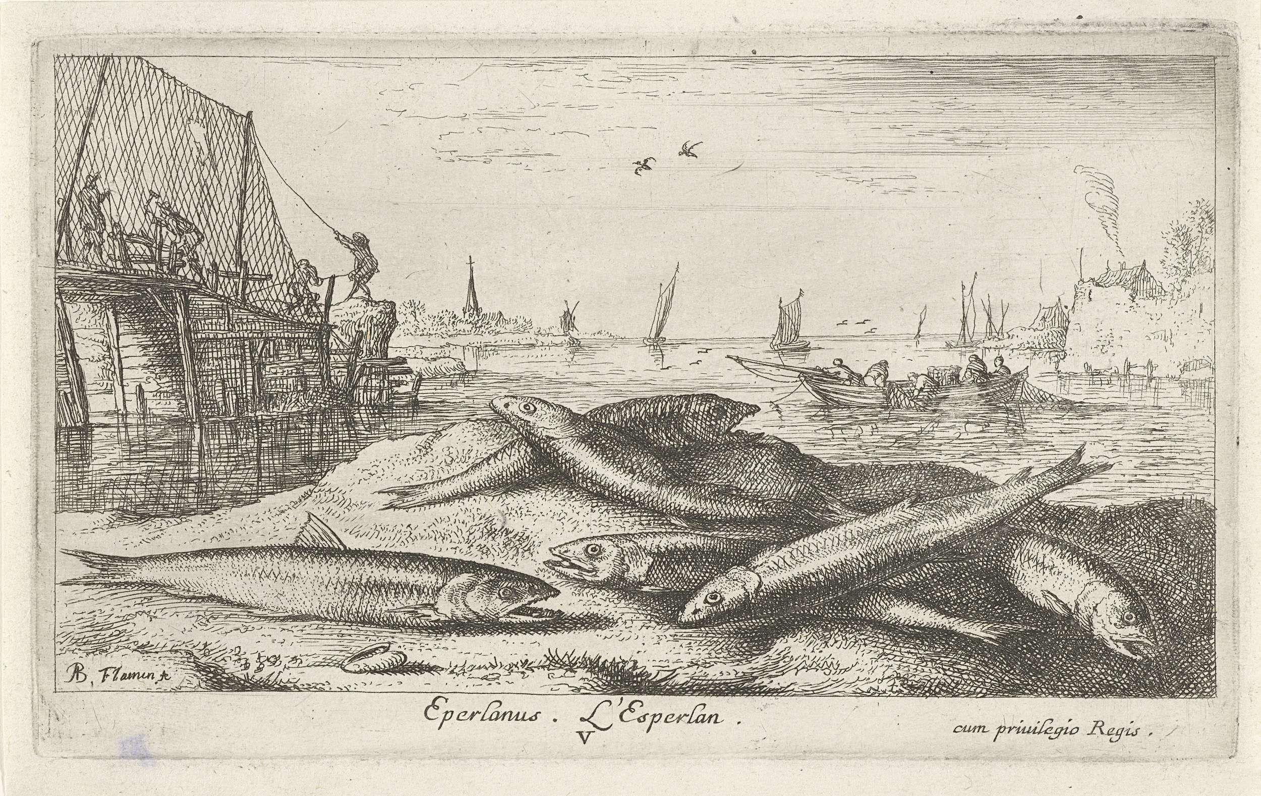 Albert Flamen | Zes spieringen op het strand, Albert Flamen, 1664 |