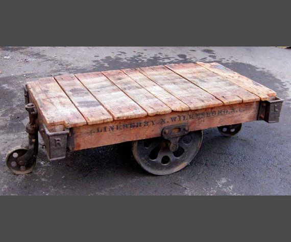 Reclaimed Industrial Pallet Cart Coffee Table