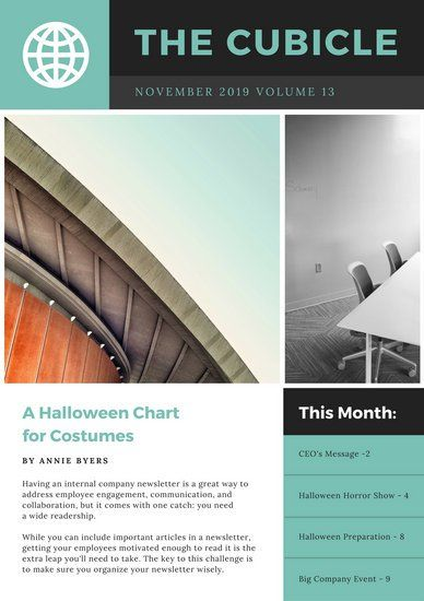 Teal Grey Modern Photo Employee Newsletter