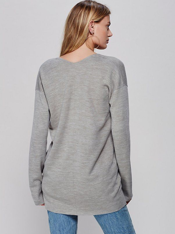Bregje Heinen || FP Day After Day Long-Sleeve Deep-V Pullover Sweater (Sage Heather)