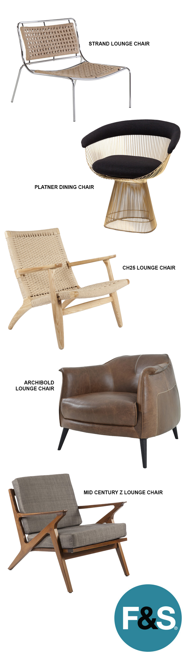 A collection or mid century and modern lounge chairs that is ...