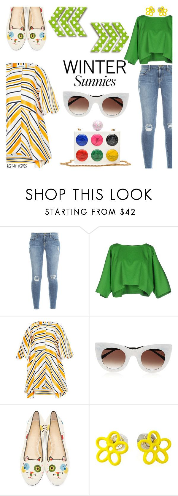 """Let the Sun Shine"" by heather-reaves ❤ liked on Polyvore featuring Frame Denim, Maison About, Maticevski, Thierry Lasry, Charlotte Olympia, Marc by Marc Jacobs and wintersunnies"