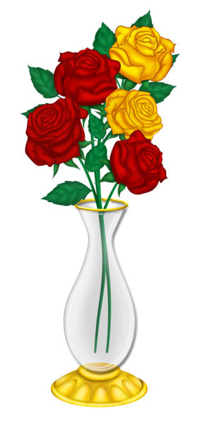Beautiful Vase With Red And Yellow Roses Png Picture Red And Yellow Roses Yellow Roses Flower Clipart