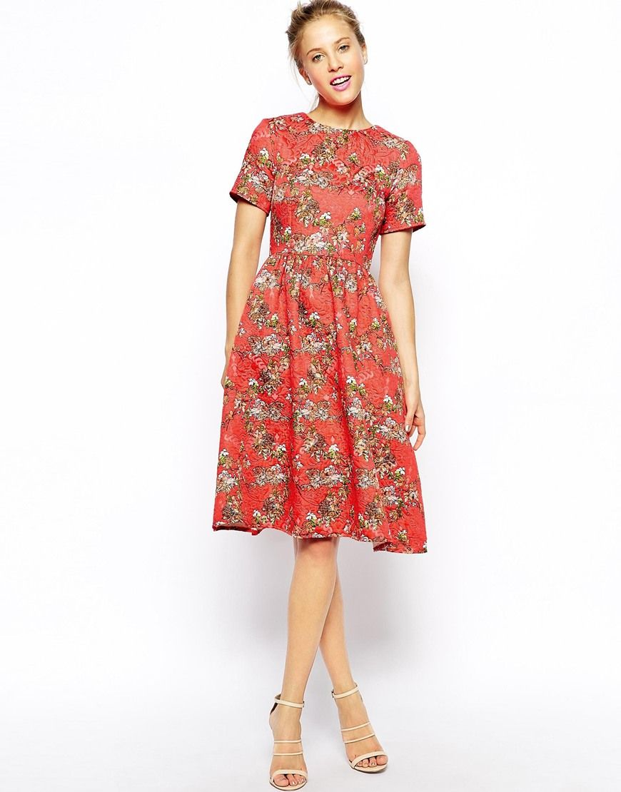 Enlarge ASOS Textured Midi Skater Dress with Floral Print. tea party dress   ) 543492a0e