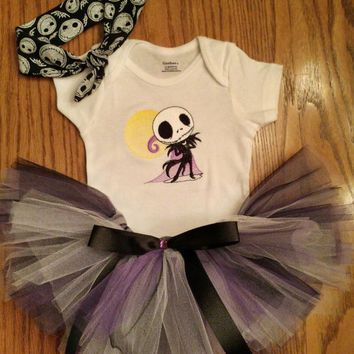 Jack Skellington Baby Tutu U0026 Onesuit Bodysuit And Headband Outfit Adorable BaBY  Shower GiFT Ready 2