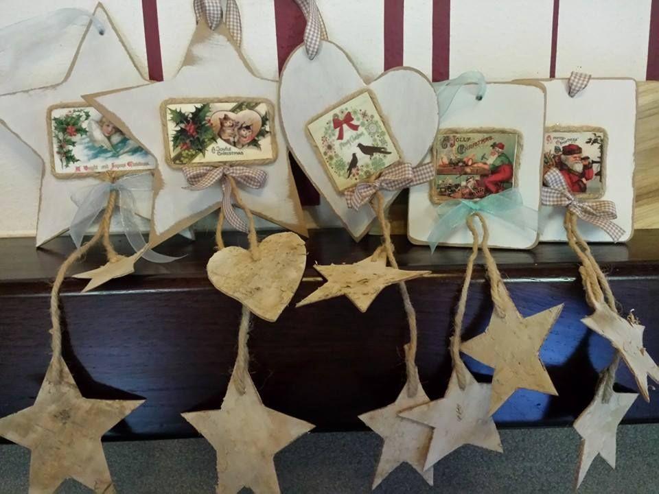 Addobbi natalizi con raffigurazioni vintage (legno e corteccia di betulla)