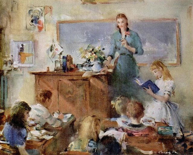 A Beautiful Painting Of A Teacher And Her Students Used In A John