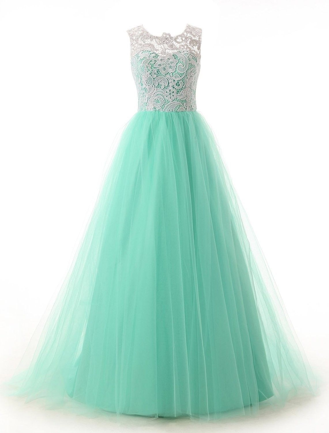 A-Line Scoop Sleeveless Floor-Length Mint Tulle Prom Dress With Lace ...