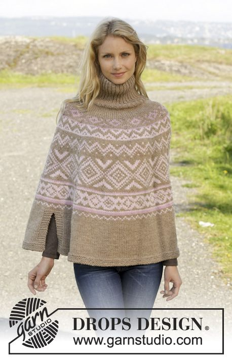 Knitted DROPS poncho with Norwegian pattern, worked top down in ...