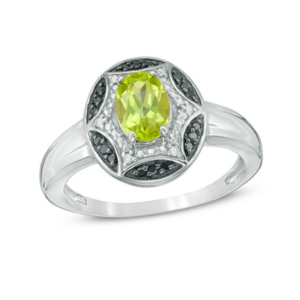 Sterling Silver Oval Shape Peridot Solitaire Ring
