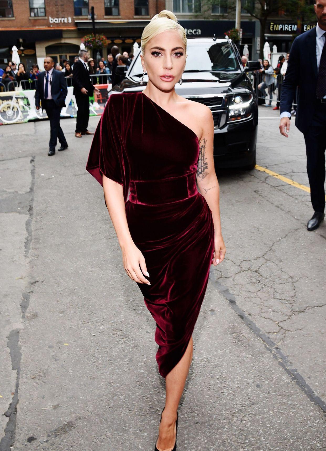 db58248cc9 Lady Gaga one shoulder velvet dress