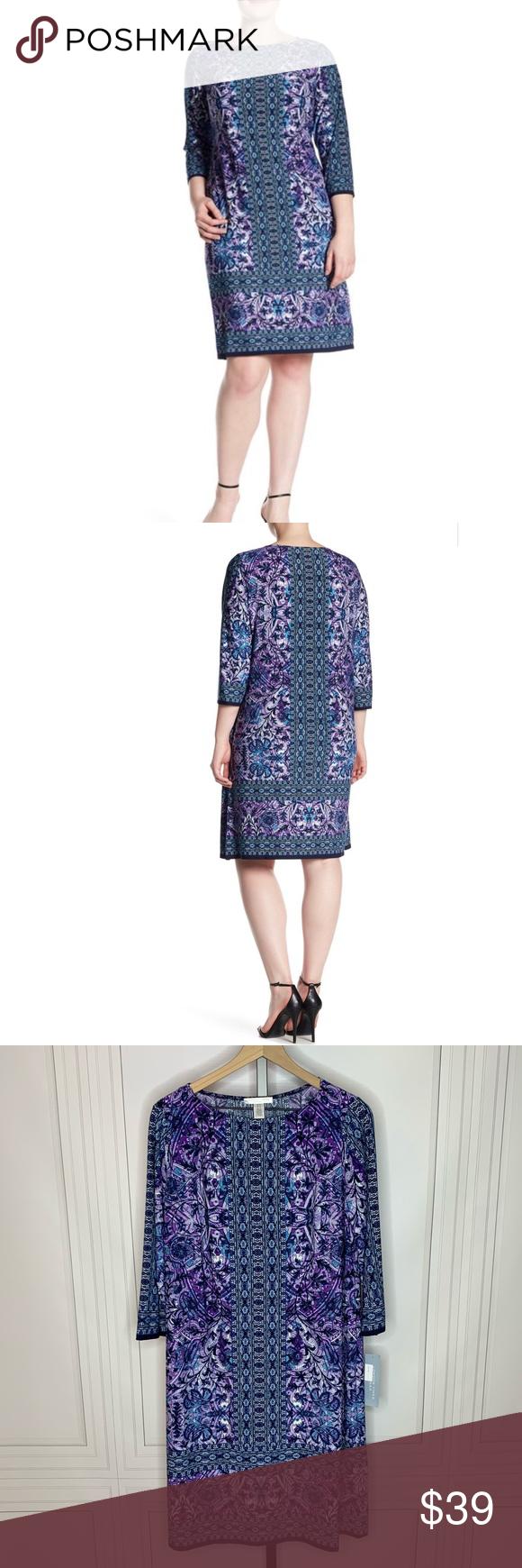 London Times 3 4 Sleeve Shift Dress Beautiful Spring Dresses Clothes Design Shift Dress [ 1740 x 580 Pixel ]