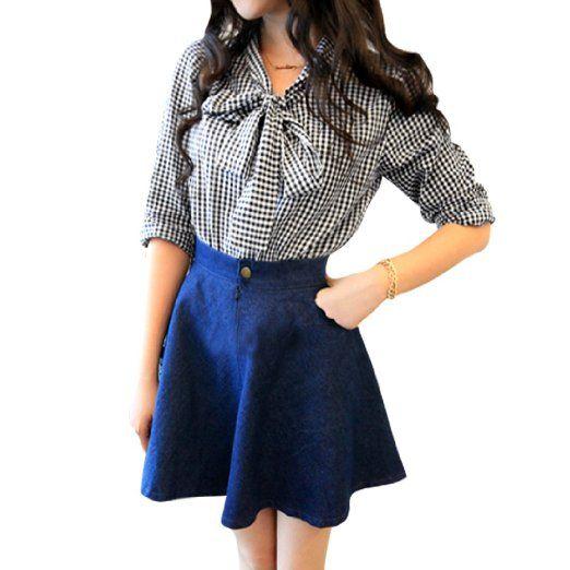 Blue & White Check Tie-Bow Neck Blouse