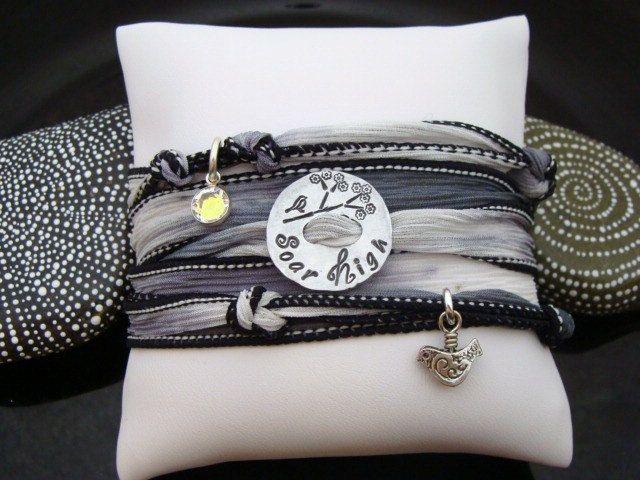 silk ribbon wrap bracelet with knots & charms