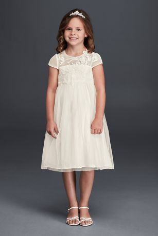 0b21e6a1d Simple yet elegant, your flower girl will look adorably chic on your  special day! Mesh dress features illusion neckline with elegantly crafted  lace ...