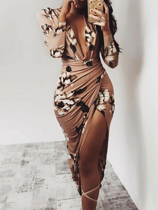 7d39cb4e3c30 Floral Deep V Long Sleeve Ruched Bodycon Dress