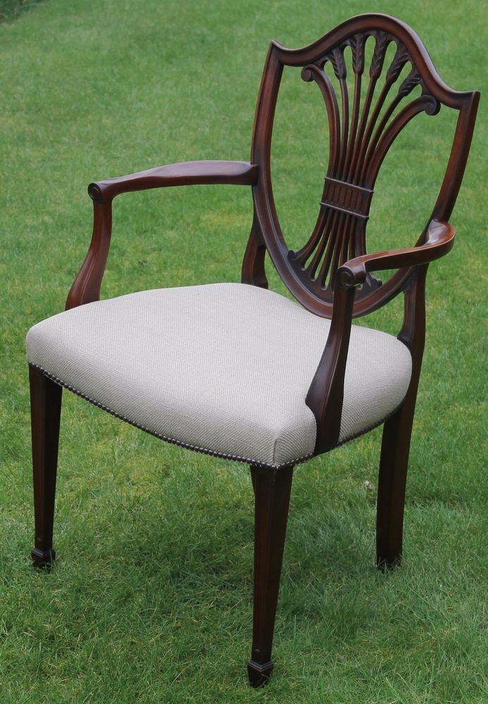 Sensational Georgian Style Shield Back Mahogany Desk Chair With Cream Machost Co Dining Chair Design Ideas Machostcouk