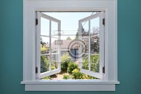 Fototapete offenes fenster  Fototapete open window to the back yard with small shed. - Fenster ...